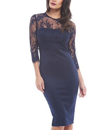 Look what I found on #zulily! Navy Lace Three-Quarter Sleeve Bodycon Dress - Women #zulilyfinds