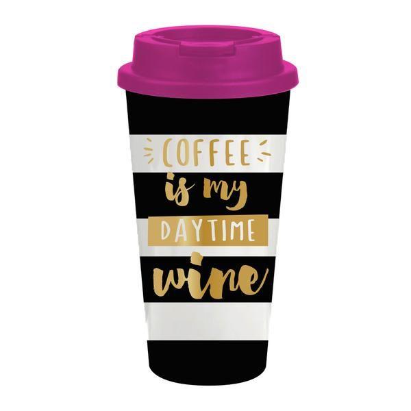 16oz double-wall travel mug with slider lid  Keeps drinks
