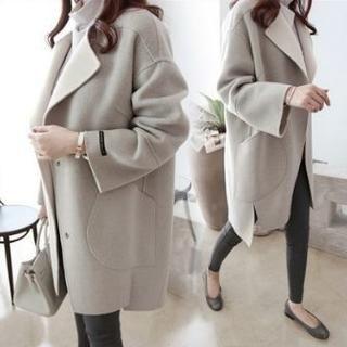 チェスターコート ウール ロング丈 ミドル丈 韓国ファッション グレー Lサイズ レディースのジャケット/