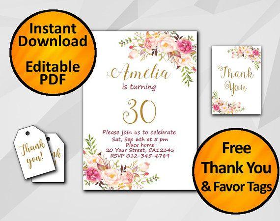 30th Birthday Invitation 1st 13th 16th 18th 21st 50th Any Age