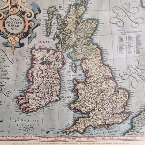 Vintage Print of a Map of the British Isles 1595 From Mercators Atlas of Meditations of a Cosmograph #britishisles