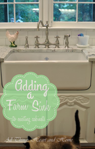 Adding a Farm Sink to existing cabinets-using repurposed armoire doors!