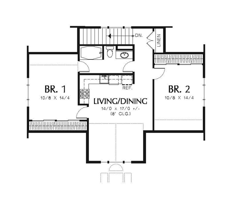 Traditional Style House Plan 2 Beds 1 Baths 1963 Sq Ft Plan 48 550 Carriage House Plans Carriage House House Plans