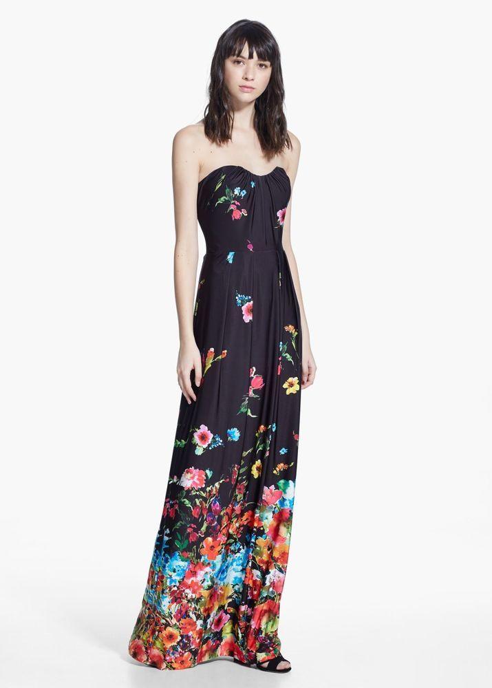 5b21f875 MANGO DRESS M maxi floral black zara wedding long summer multi SOLD OUT  formal #Mango #Maxi #Formal