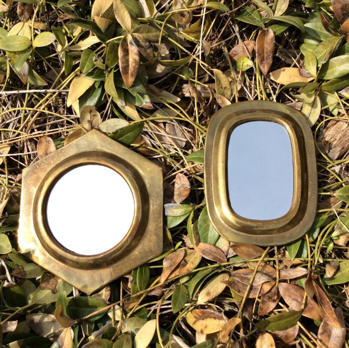 Cottage Wall Decor vintage small, solid brass mirror set, hexagon & oval, wall decor