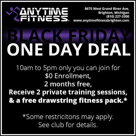 Did You Take Advantage Of Our Black Friday Deal Hope To See You In Here Soon Anytime Fitness Of Brighton Mi Is The Anytime Fitness Fitness Pack Brighton