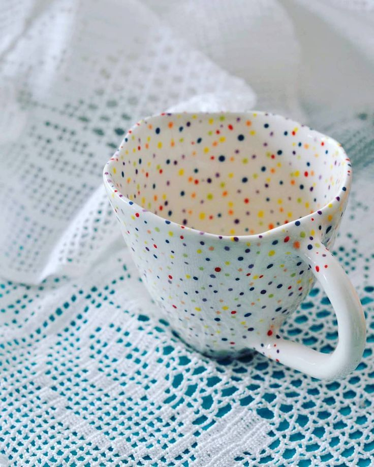 "Elektra Ceramics on Instagram: ""For the love of Dots and Lace! New dotty coffee cup . . . . #justdiygr #pottery #clay #handmade #ceramics #ceramicsmagazine #ceramica…"""