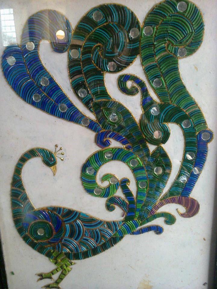 peacock from broken bangles | Art | Glass art, Painted