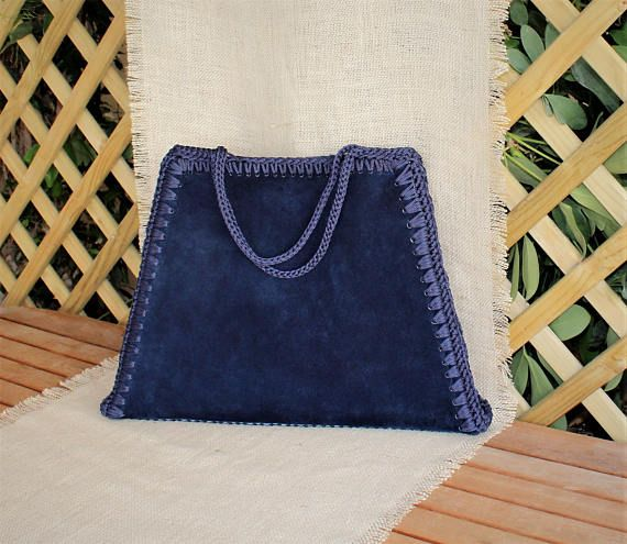 Bag Minimalist Women Blue Suede Oversized