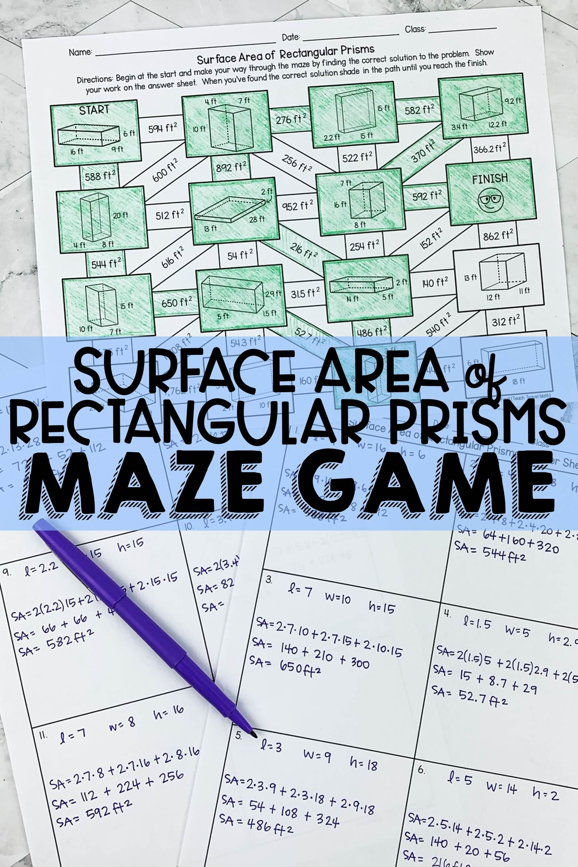 Surface Area Of Rectangular Prisms Maze