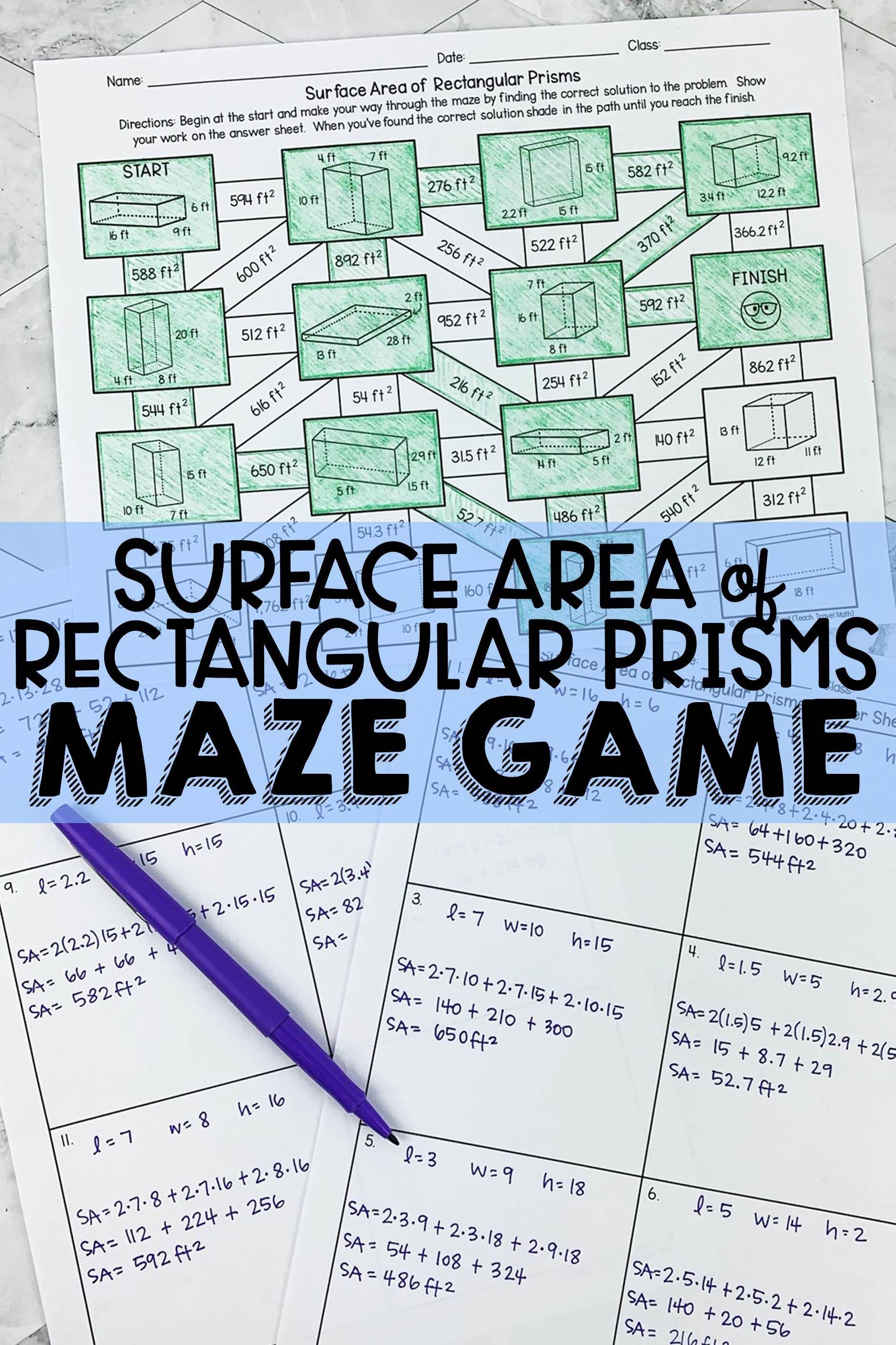 Surface Area Of Rectangular Prisms Maze Rectangular Prisms Math Maze Surface Area [ 2814 x 1875 Pixel ]