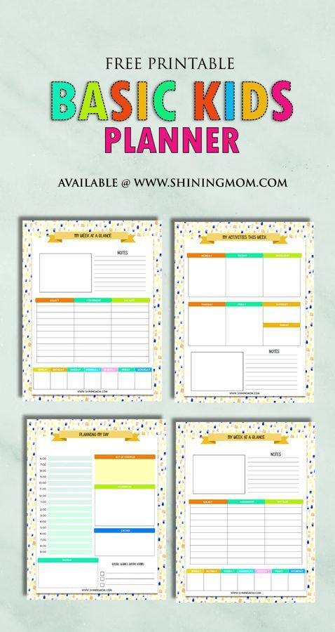 Free Printable Kids Planner Cute And Colorful Kids Planner
