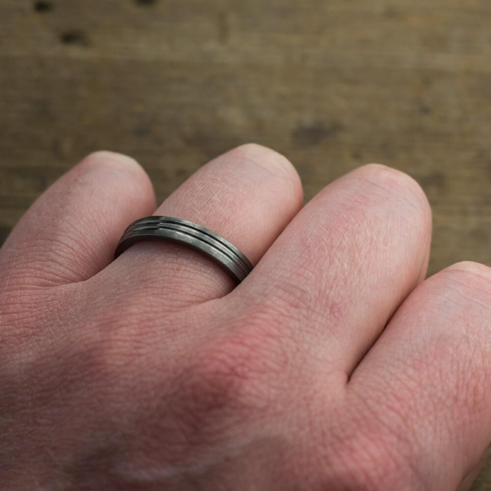 4mm Double Channel Mens Wedding Band - Point No Point Studio - 4 ...