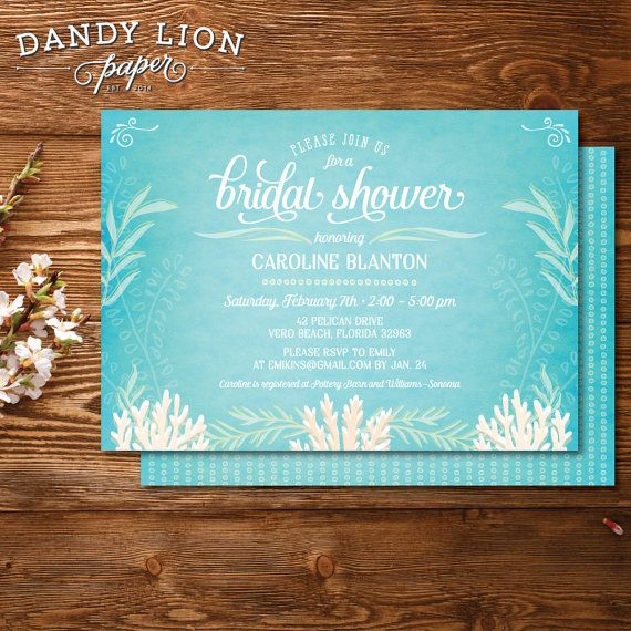 Under the sea bridal shower personalized by dandylionpaper moh under the sea beachy bridal shower digital invitation diy printable filmwisefo Images