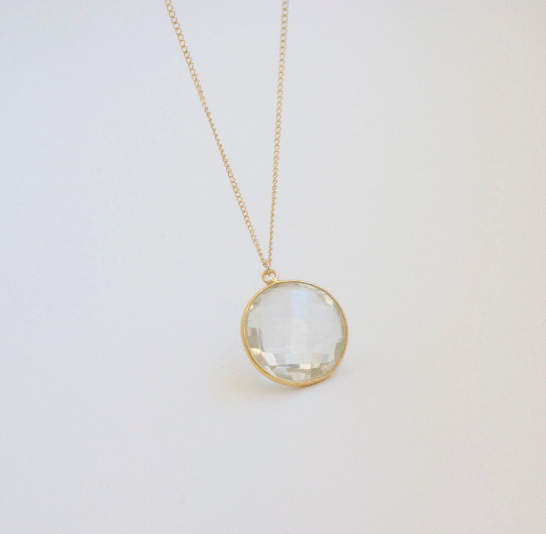 White Quartz Pendant Necklace Round Bezel Set Gold Delicate Chain ...
