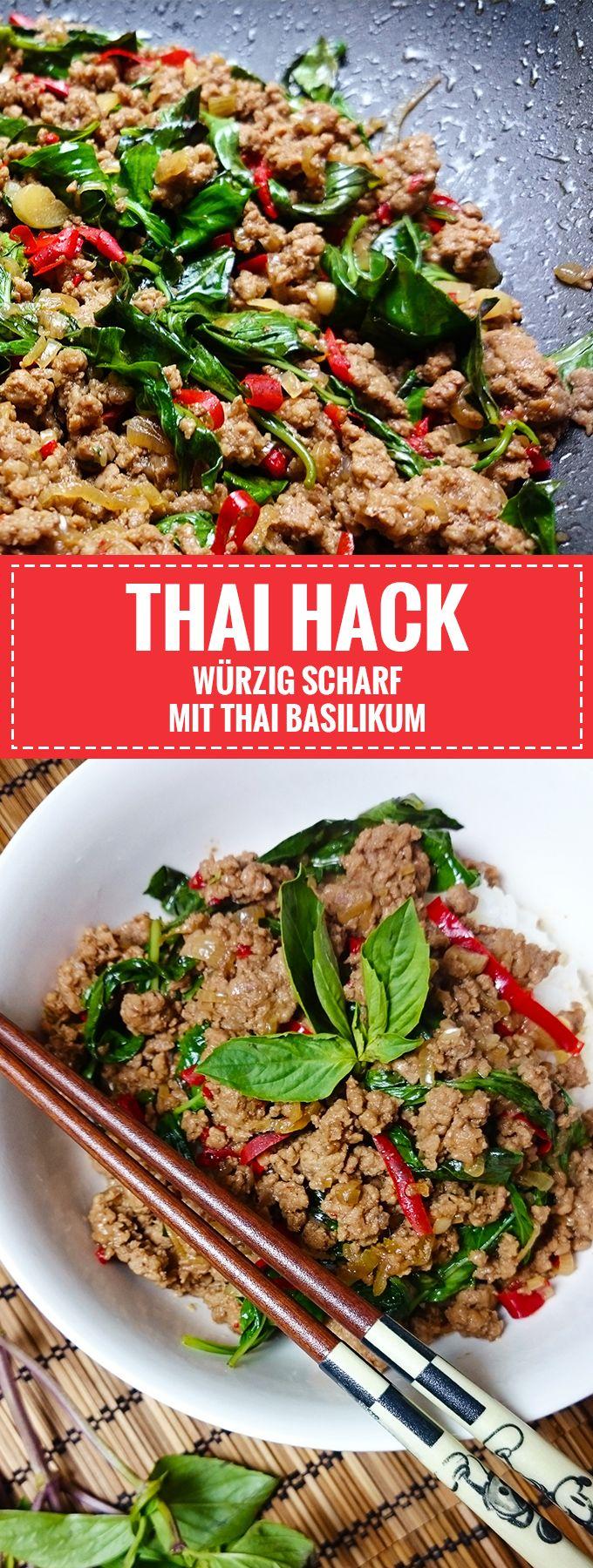 Würzig und Scharf // Thai-Hackfleisch mit Basilikum // Pad Krapao // Knabberkult.de #chinesefood