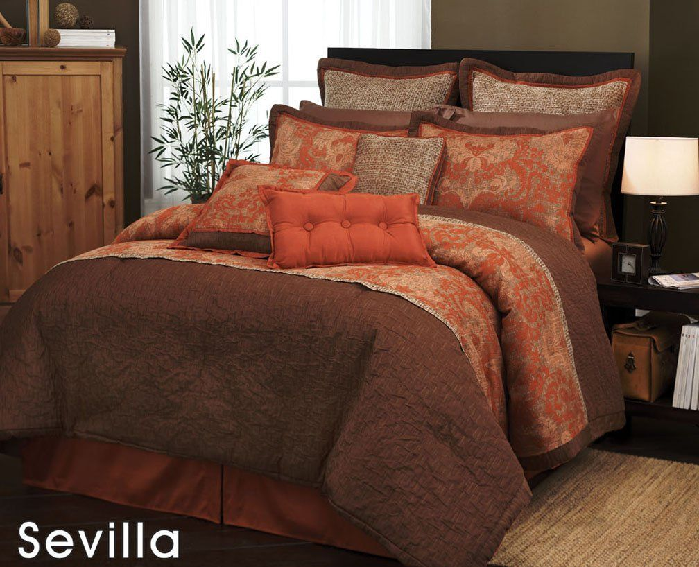 7 Pieces Traditional Orange And Brown Jacquard Floral Comforter S
