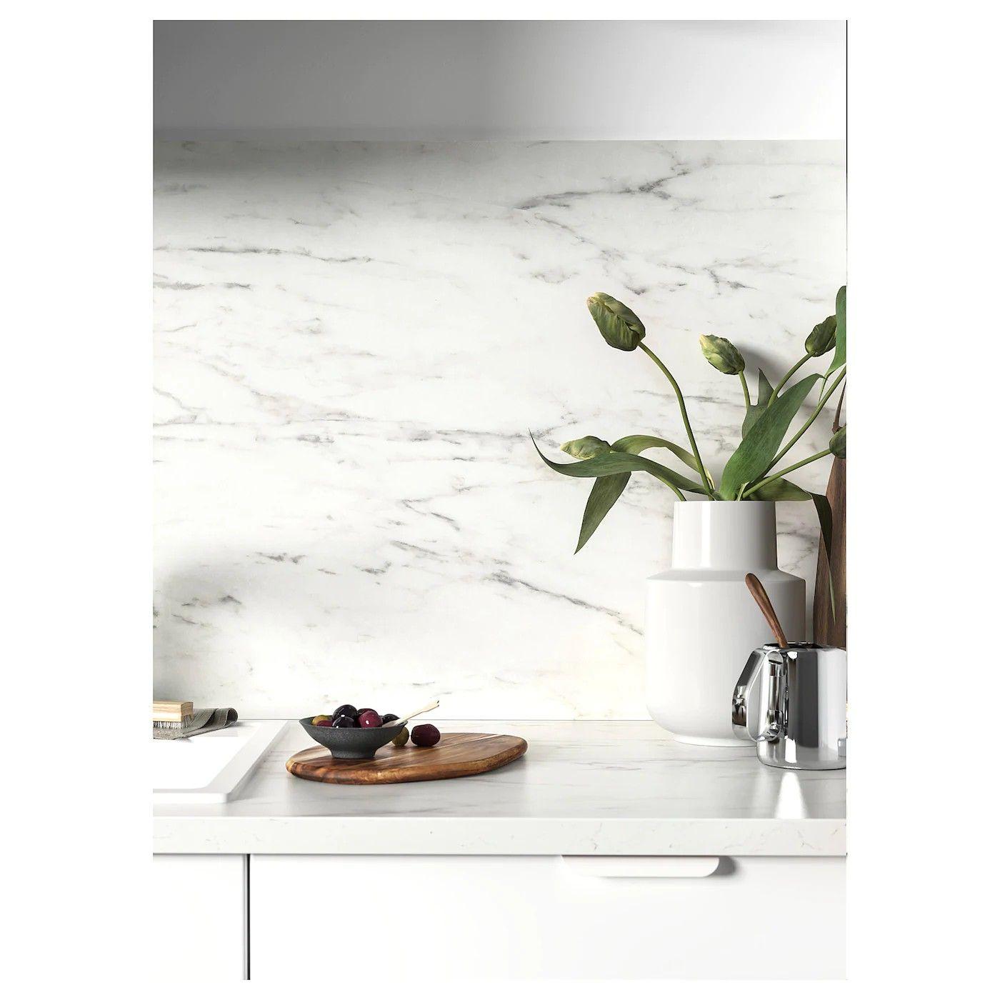 Ekbacken White Marble Effect Laminate Worktop 186x2 8 Cm Ikea In 2020 Laminaat Keuken Aanrecht Ikea