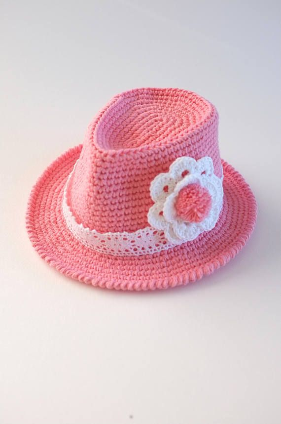 Crochet Baby Toddler Girls Fedora Hat Shower Gift Photo Props New ... 4cf684a489c2