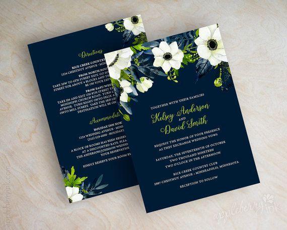 Navy Blue Floral Wedding Invitations Watercolor Wedding