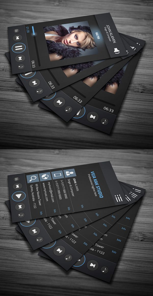 music player style business card template freebie