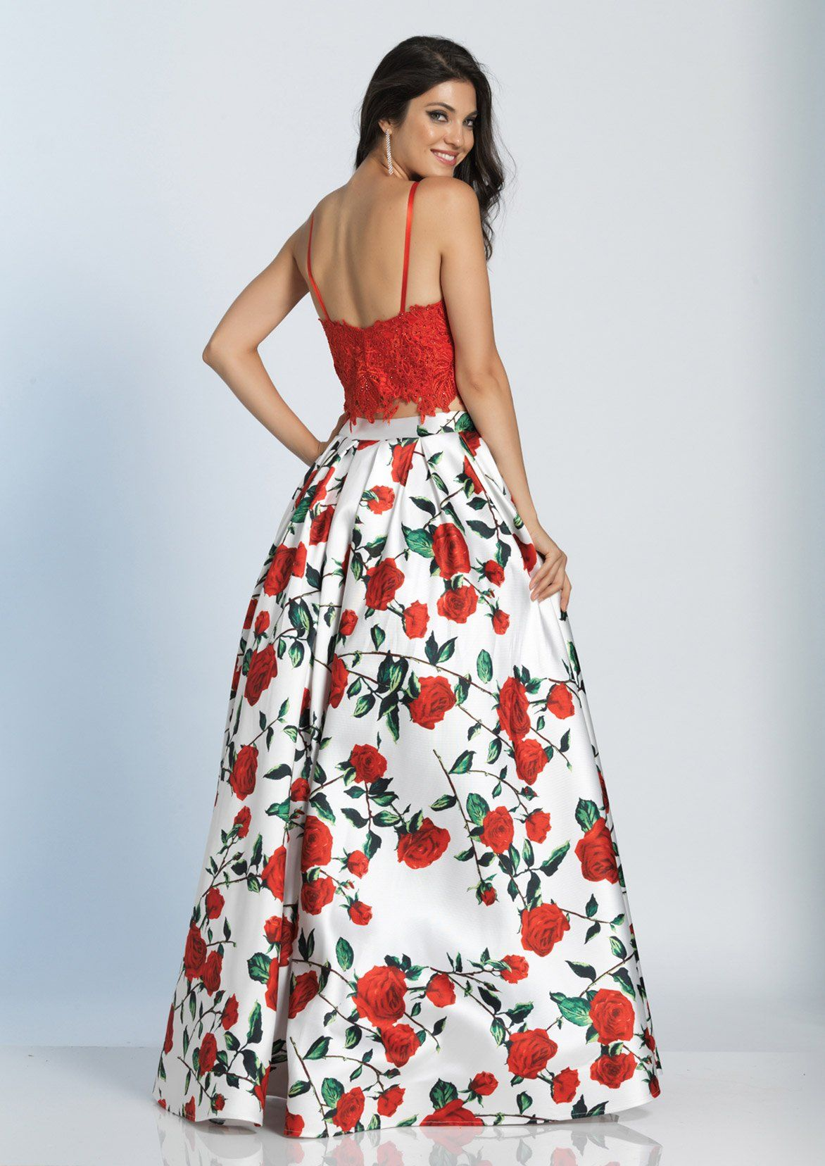 Dj a roseprint twopiece long prom dress with lace top