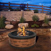 Sun Joe 35 in. Cast-Stone Fire Pit (Rustic Wood) - Sam's Club