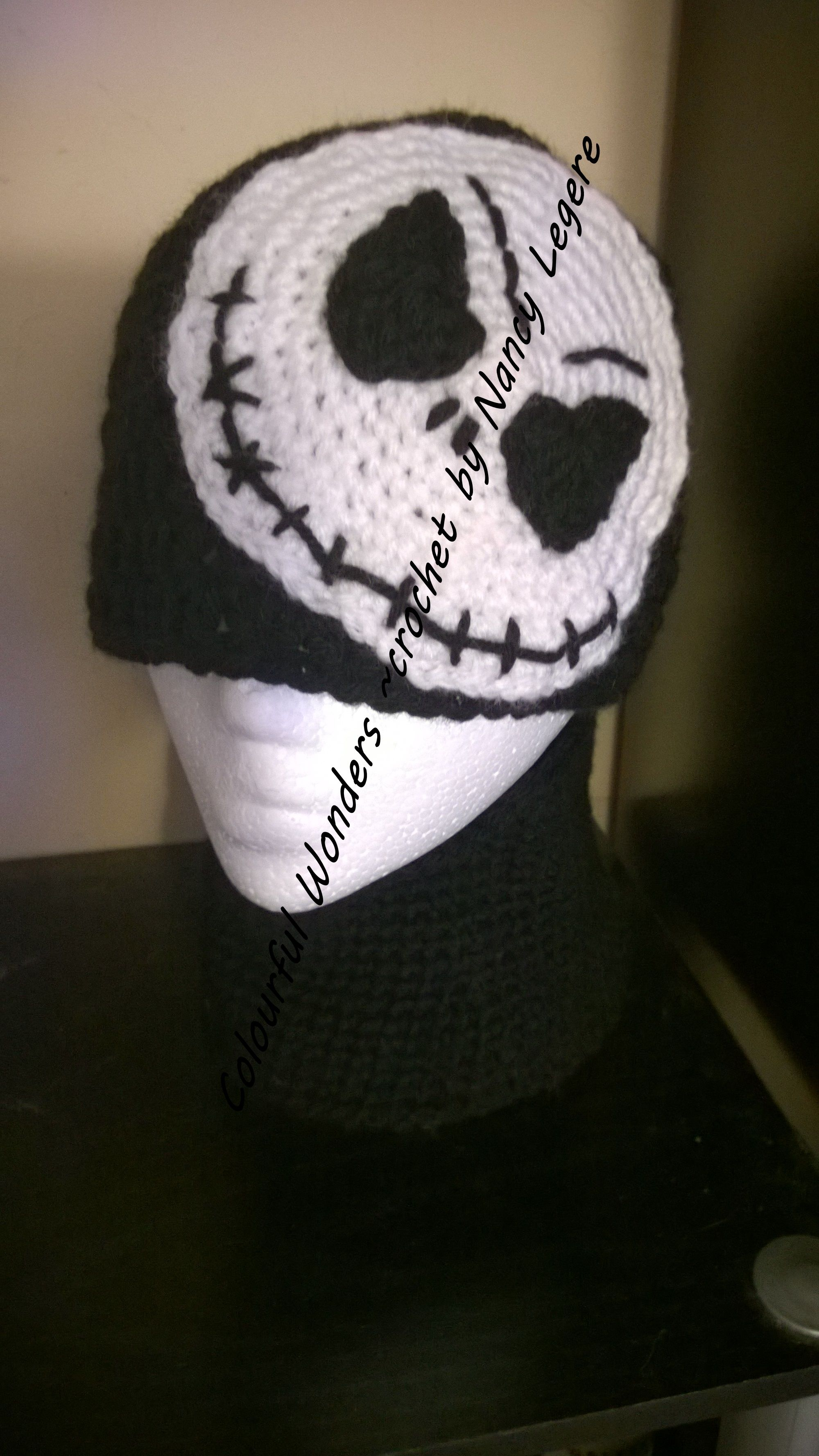85a04539 Jack Skeleton crochet hat and neck warmer made by Nancy Legere Nightmare  Before Christmas