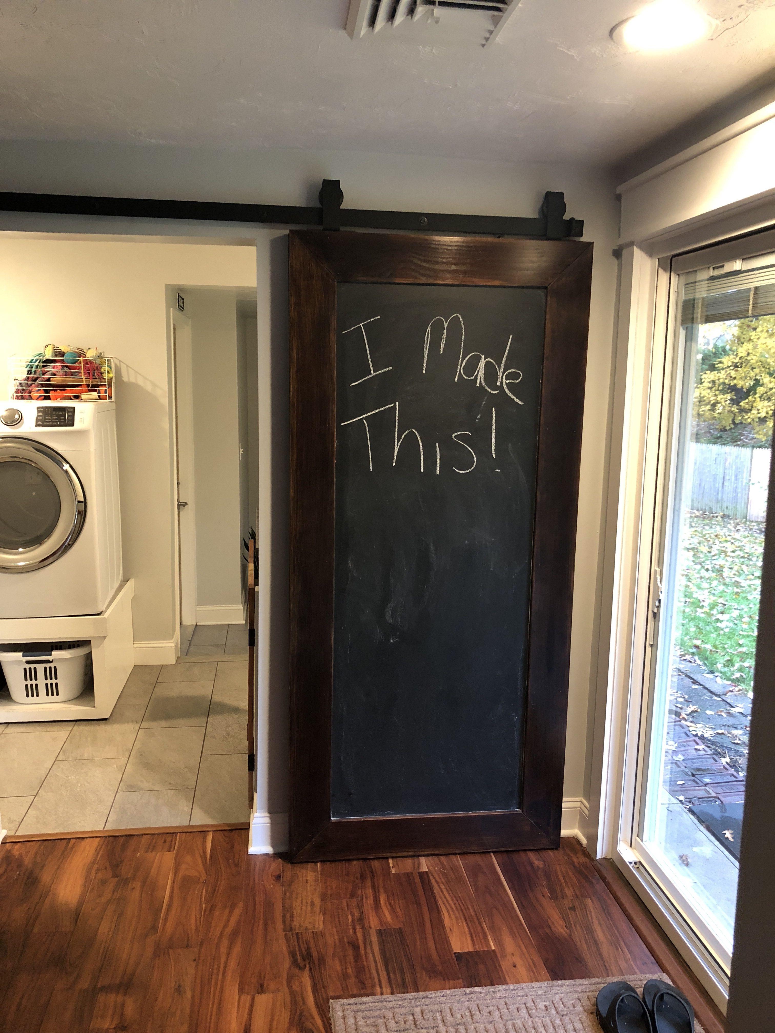 Diy Chalkboard Barn Door From Painted Hollow Core Door Barn Door Hollow Core Doors Diy Chalkboard