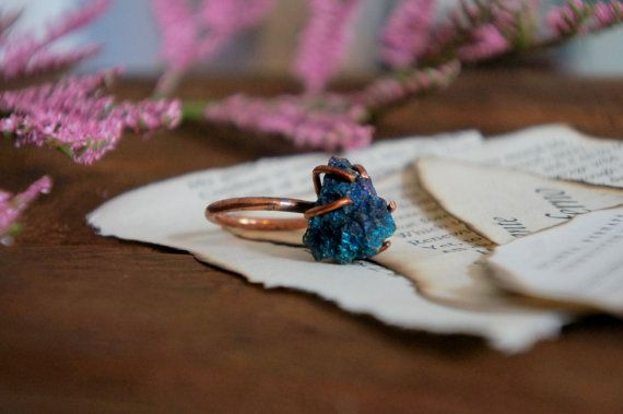 Primitive Peacock Ore Copper Prong Ring // Copper Specimen Prong Ring // Pyrite Ring
