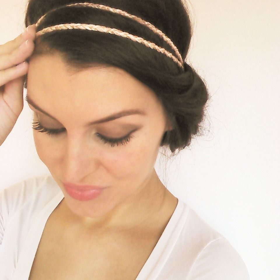 headband mariage boh me vieux rose beige et dor hairband fil coton tress accessoire cheveux. Black Bedroom Furniture Sets. Home Design Ideas