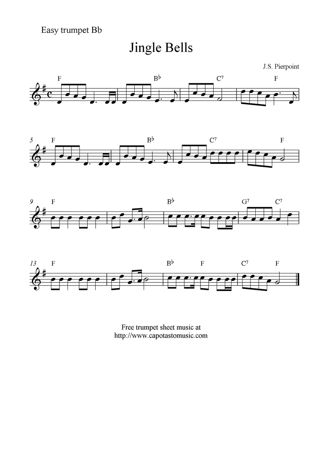 Trumpet Sheet Music | Sheet Music Scores: Jingle Bells, free ...