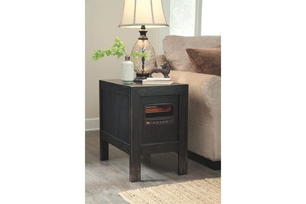 Black Gavelston Chairside End Table With Heater By Ashley