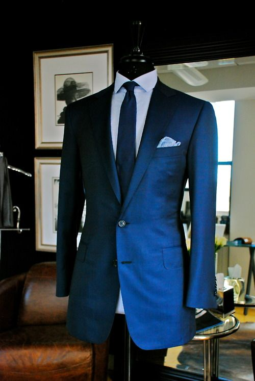 Air Force Blue 2 Button Notch Suit, Super 130s/ Wool by Ariston ...