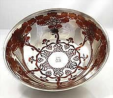 Rare Tiffany mixed metals sterling and copper inlay bowl