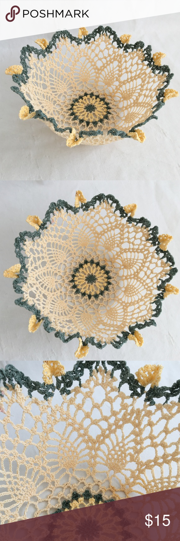 Large Crochet Bowl Home Decor Large crochet bowl measures 4 1/2 high and 11 in diameter made out of cotton thread.  Would look amazing in a home or apartment.  It does have one discolored spot from storage but is a new handmade item. Accents Baskets & Bins #crochetbowl