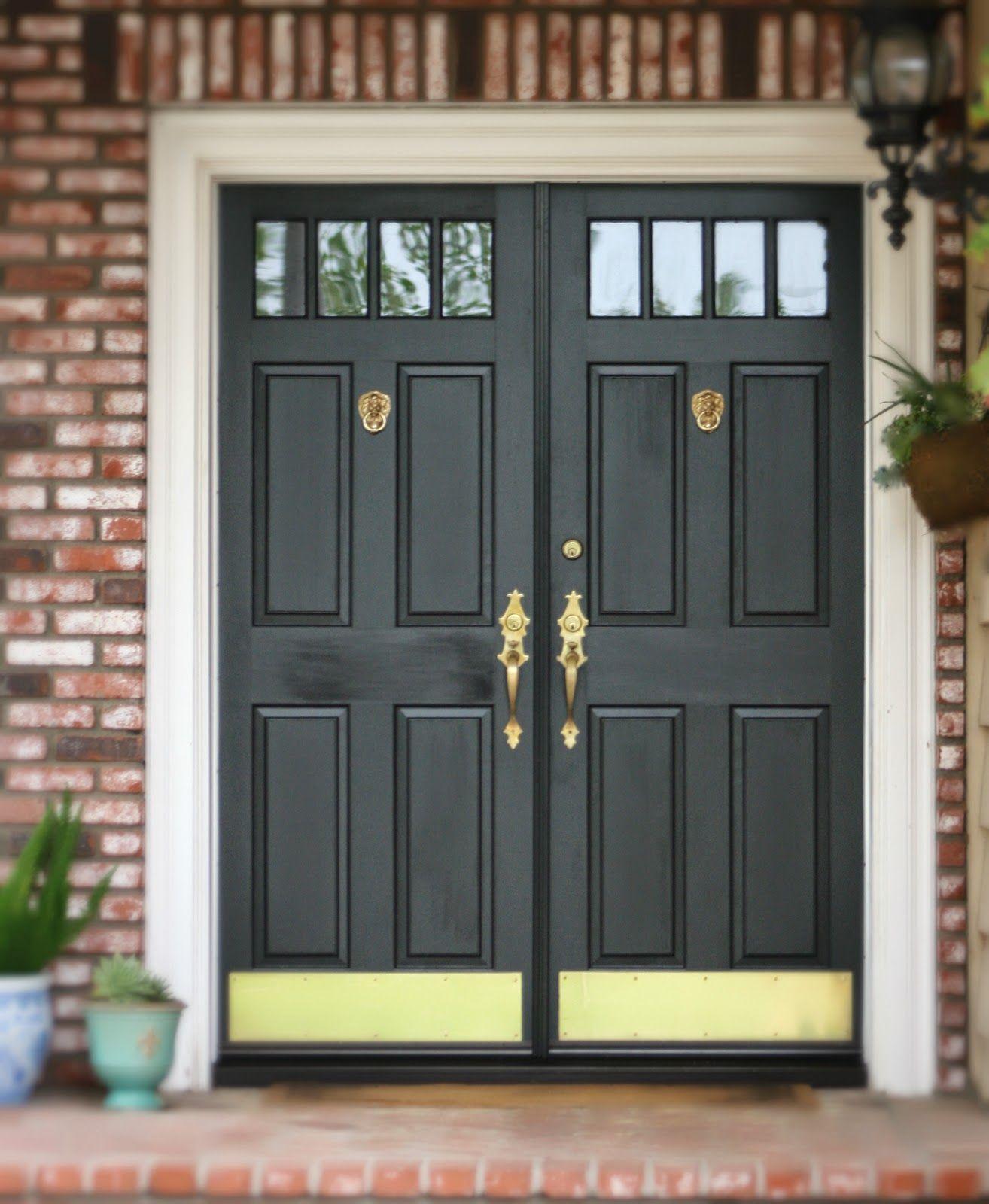 Black front door with Brass Lion door knockers, door harware and brass kick  plates { - Black Front Door With Brass Lion Door Knockers, Door Harware And