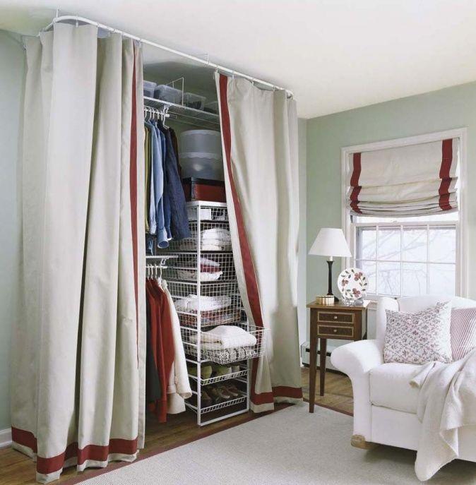 offener Kleiderschrank mit Vorhang  Vorhnge  Vorhang