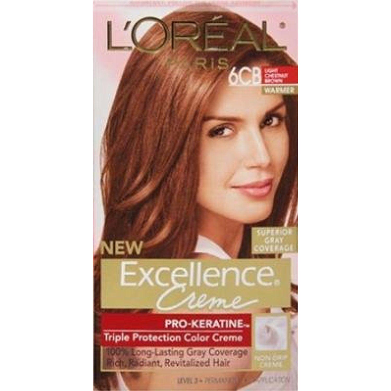 L Oreal Paris Excellence Creme Haircolor Light Chestnut Brown 6cb Pack Of 3 By L Oreal Paris Click Image F Hair Color Hair Color Reviews Grey Hair Color