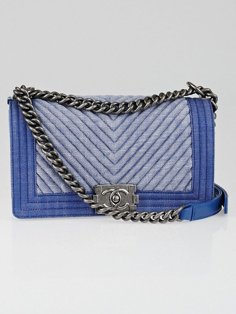 3b889eff4 Chanel Light Blue Chevron Quilted Denim Medium Boy Flap Bag ...