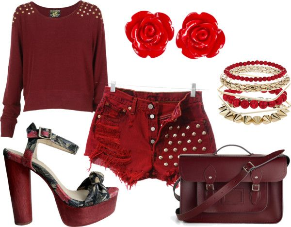 """""""All in red"""" by kacaprica ❤ liked on Polyvore"""