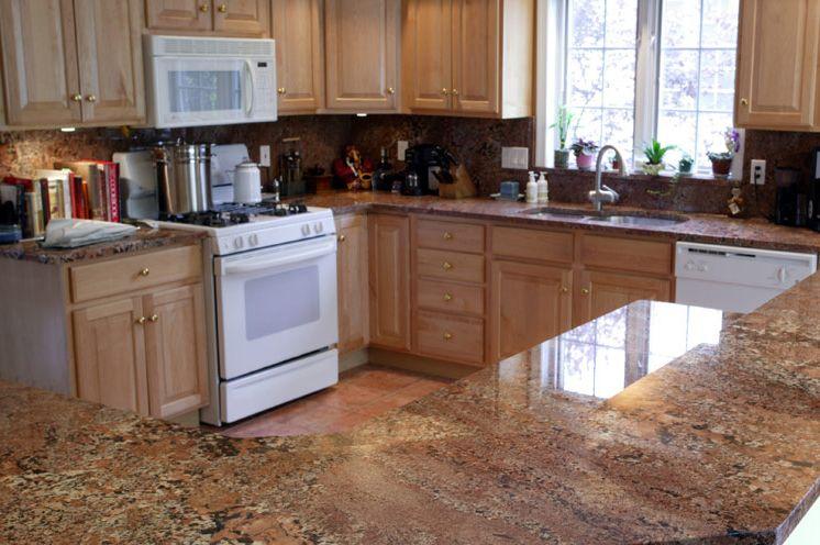 Wonderful Hawaiian Bordeaux Granite Kitchen Countertop Bartop Finished Installed  Granix