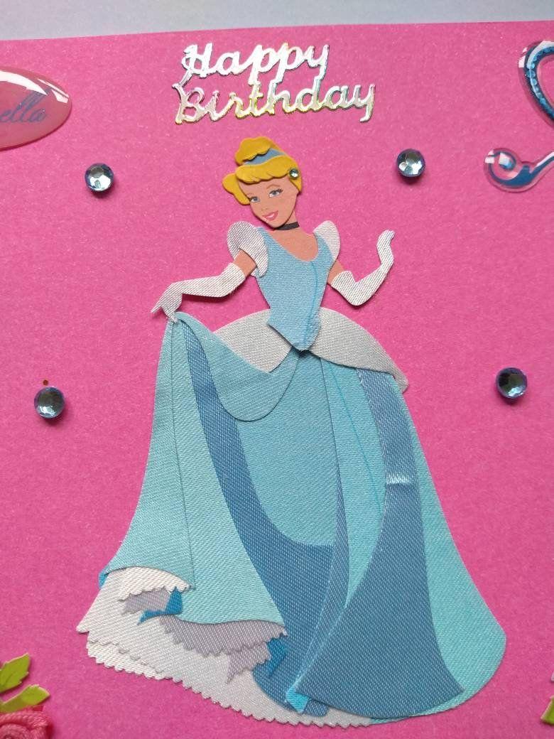 Cinderella Handmade Birthday Card In Pretty Pink Blue By Lunarcrafts On Etsy Disney Birthday Card Handmade Birthday Cards Lunar Craft