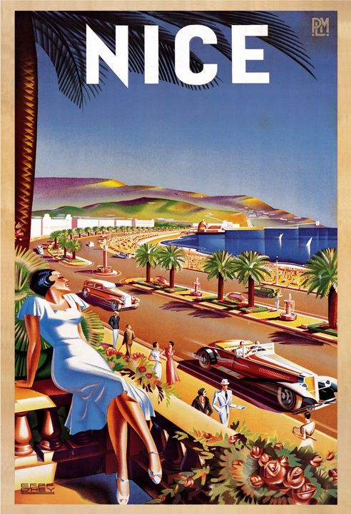 nice cote d 39 azur vintage travel poster france. Black Bedroom Furniture Sets. Home Design Ideas