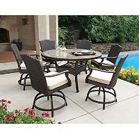 Member S Mark Heritage 7 Piece Balcony Height Dining Set With Premium Sunbrella Fabrics Sam Club