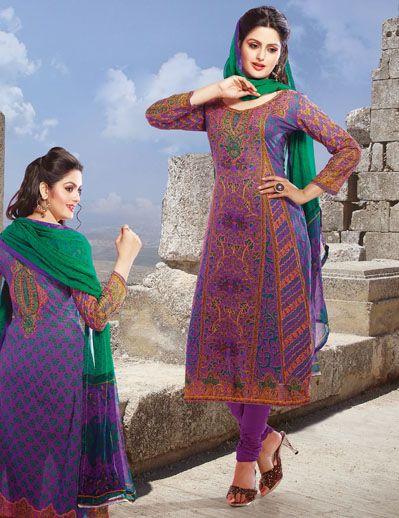 USD 35.16 Violet Cotton Printed Suit  35137