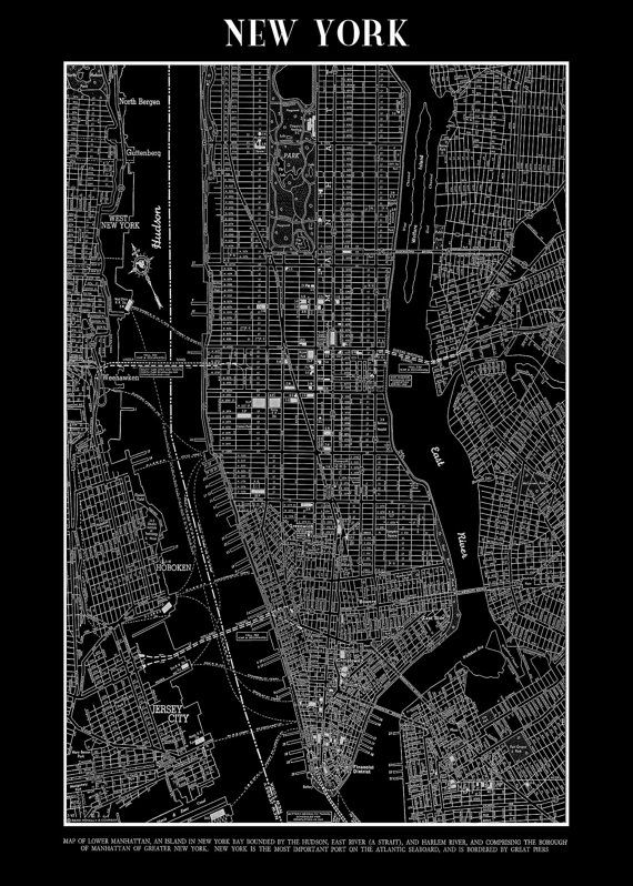 New York Map Black And White.New York Map 1944 New York City Manhattan Street Map By Themapshop