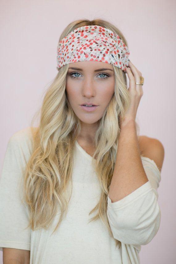 Floral Head Wrap Headband Cute Hair Bands Boho door ThreeBirdNest, $28.00