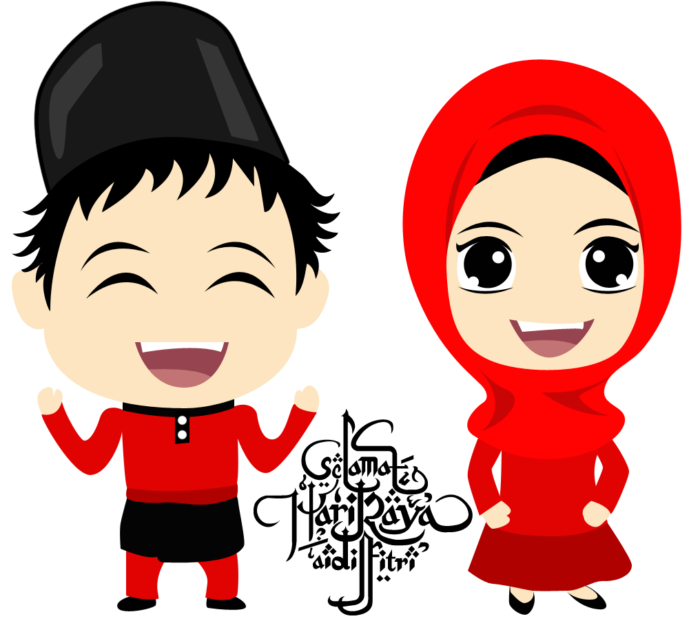 Gambar Kartun Muslimah Idul Fitri