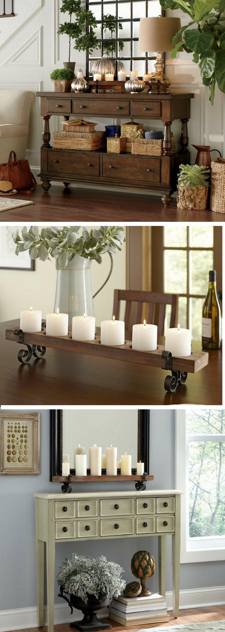 Glass console table decor  Plank Candleholder  farmhouse Décor  Style  fixer upper style